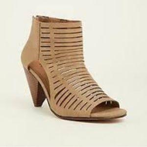 torrid Shoes - Torrid Taupe Caged Cone Heel Bootie  8